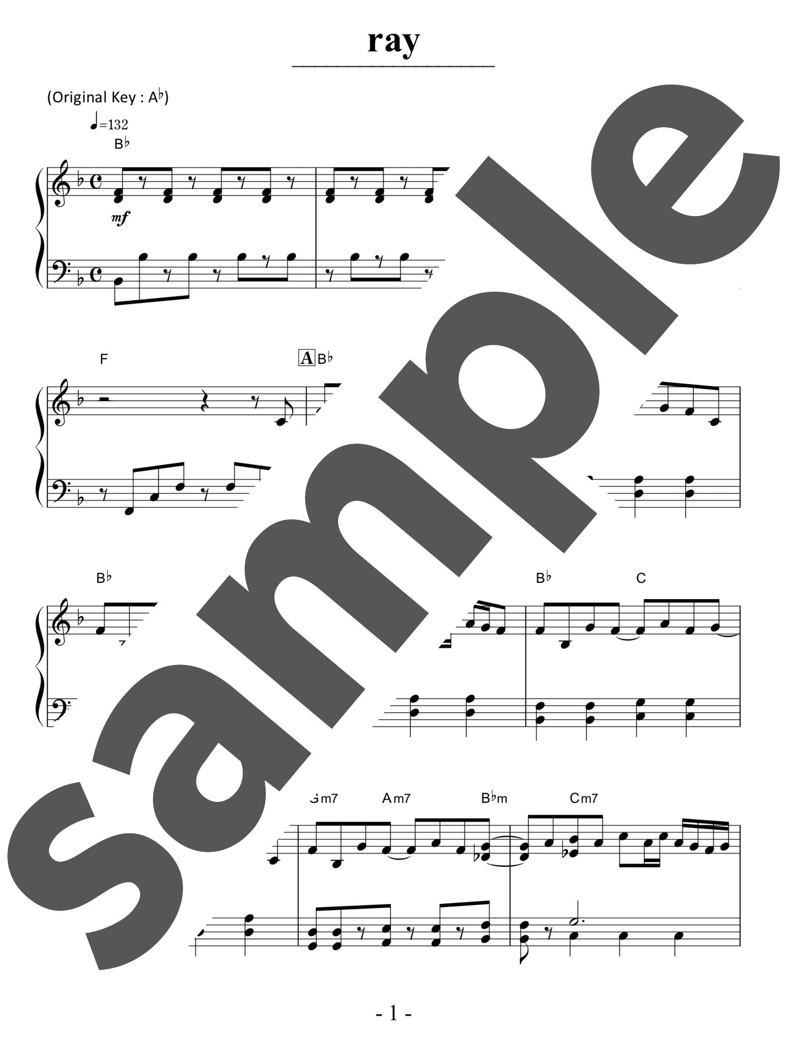 「ray」のサンプル楽譜