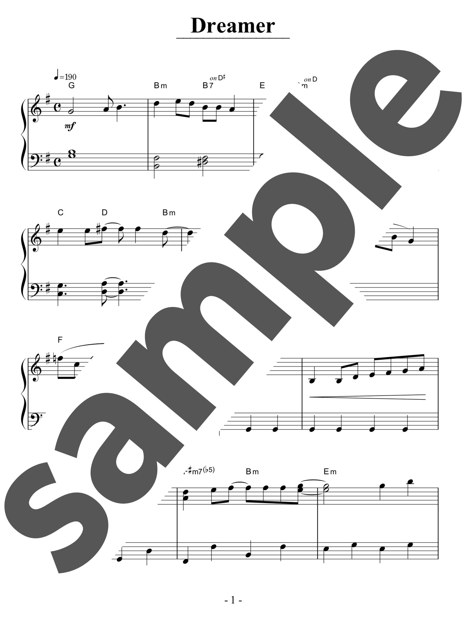 「Dreamer」のサンプル楽譜