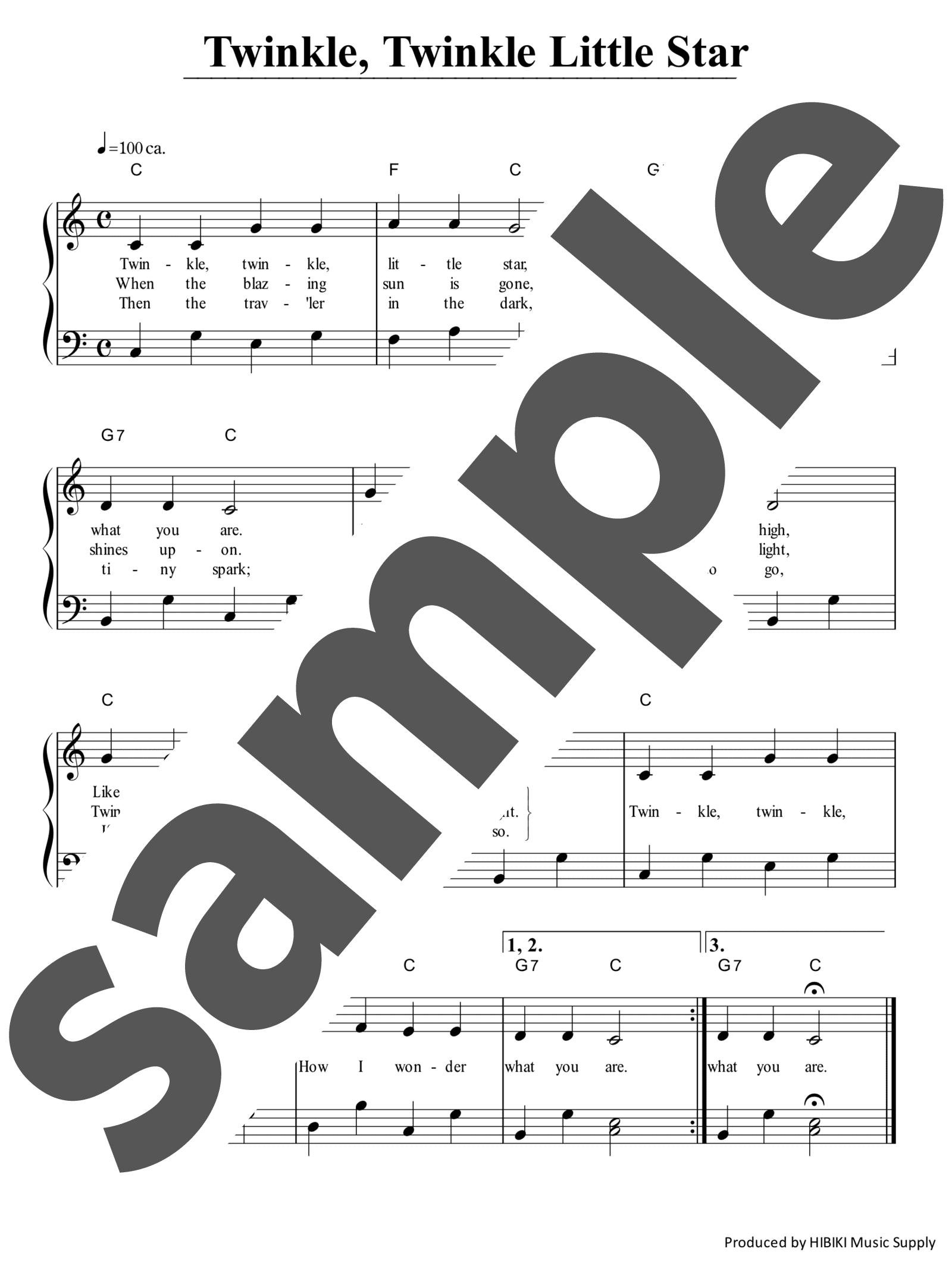 「Twinkle Twinkle Little Star」のサンプル楽譜