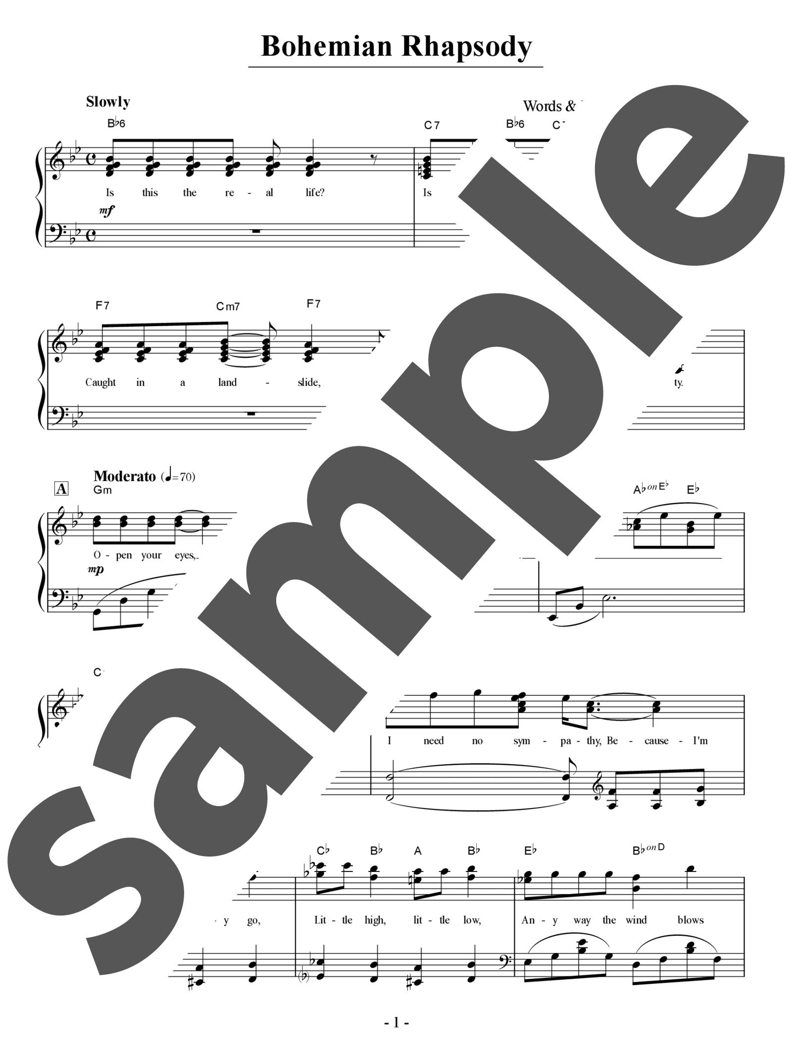 「ボヘミアン・ラプソディ」のサンプル楽譜