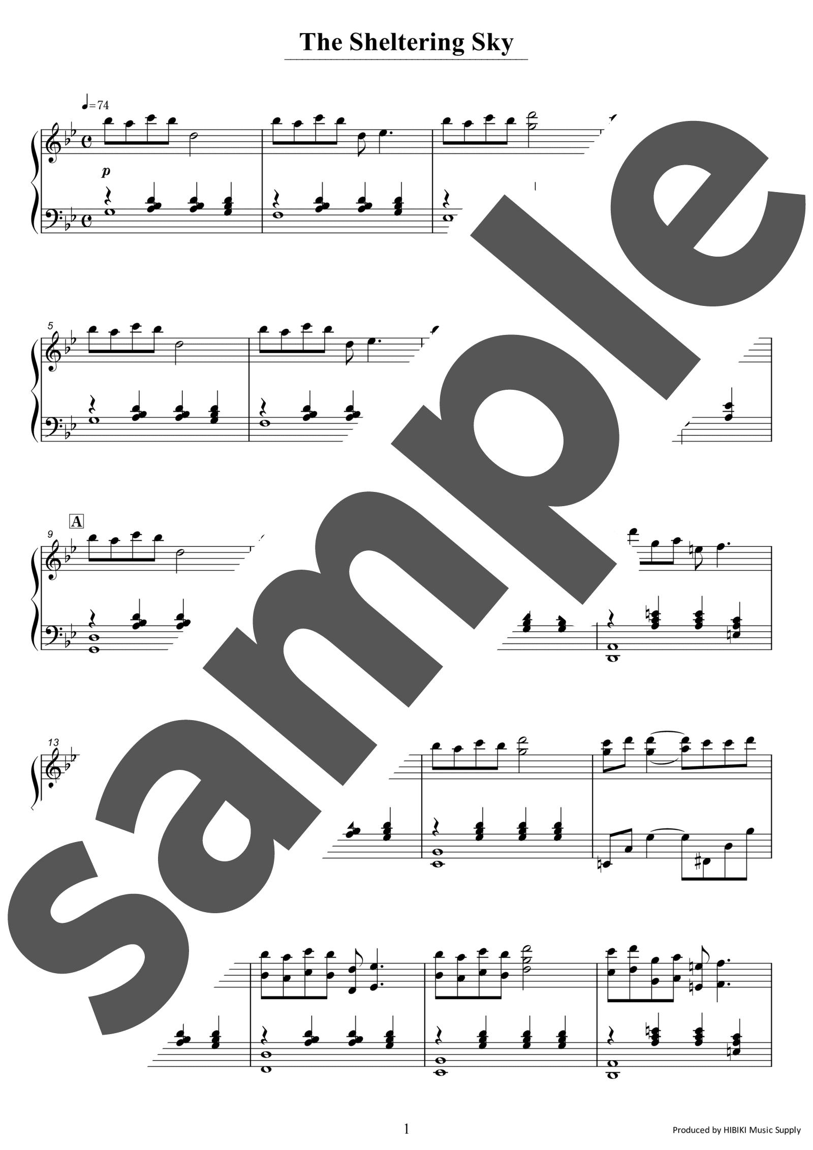 「The Sheltering Sky」のサンプル楽譜