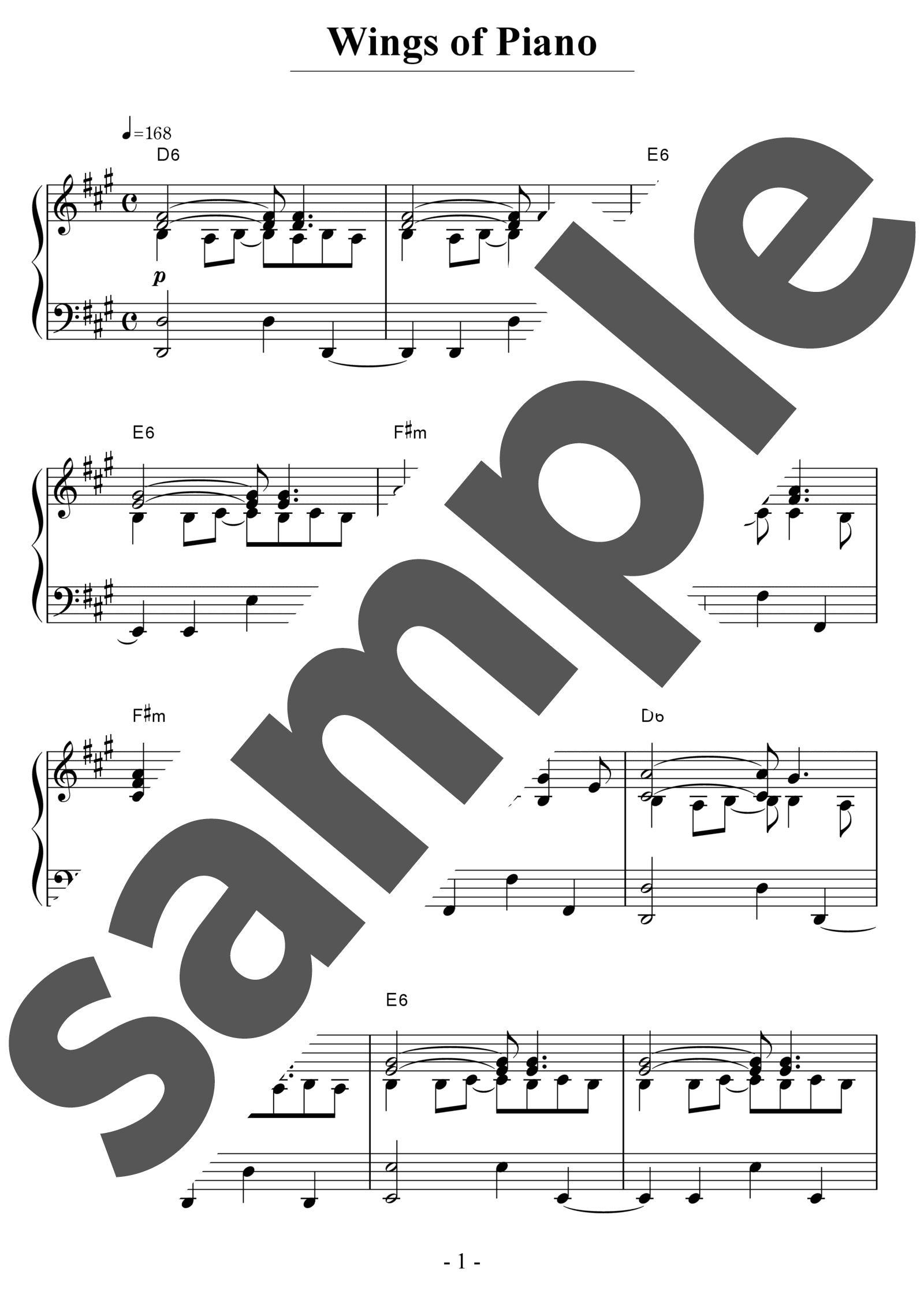 「Wings Of Piano」のサンプル楽譜