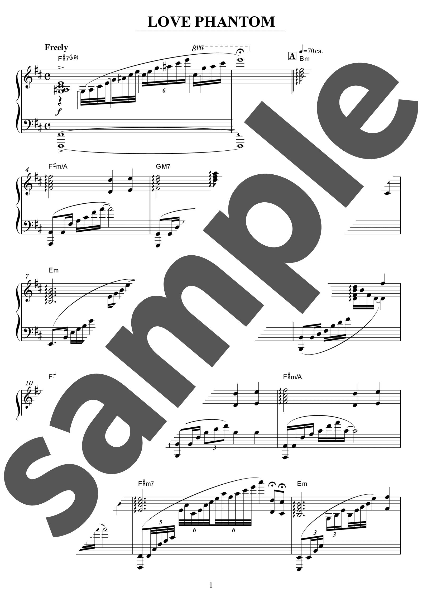 「LOVE PHANTOM」のサンプル楽譜