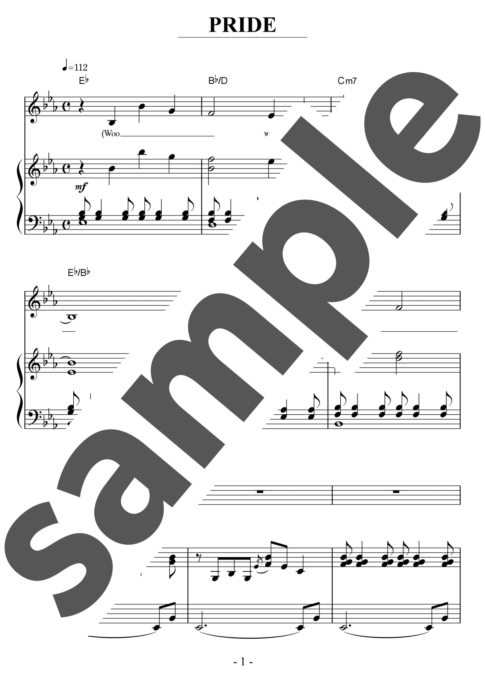 「PRIDE」のサンプル楽譜