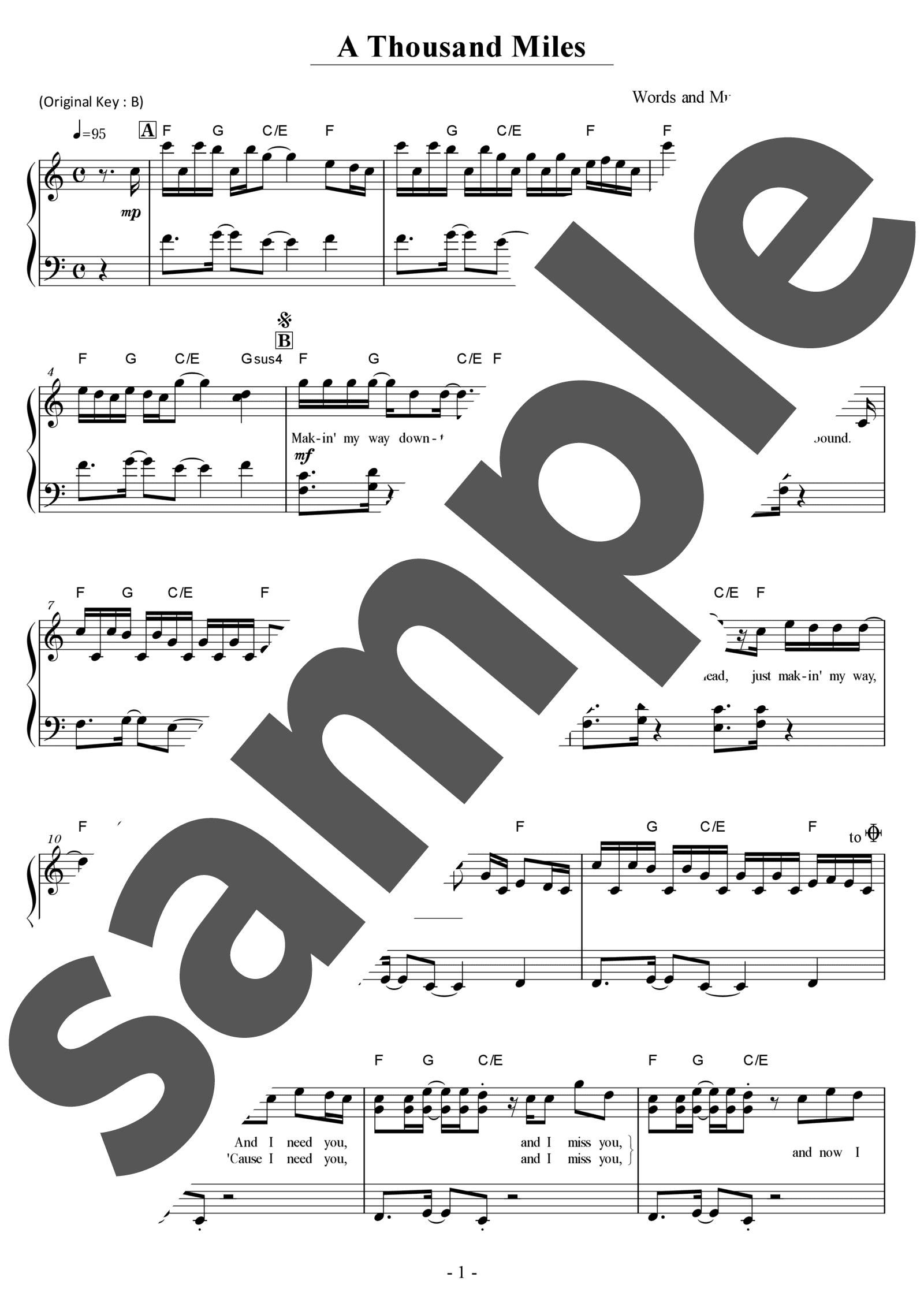 「A Thousand Miles」のサンプル楽譜