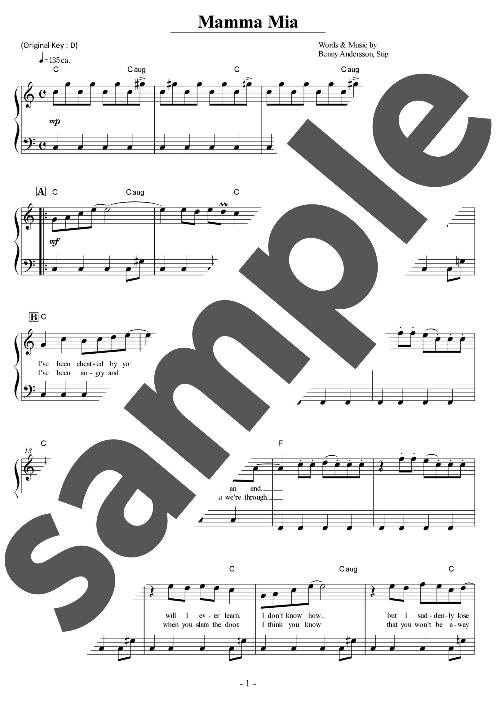 「マンマミーア」のサンプル楽譜