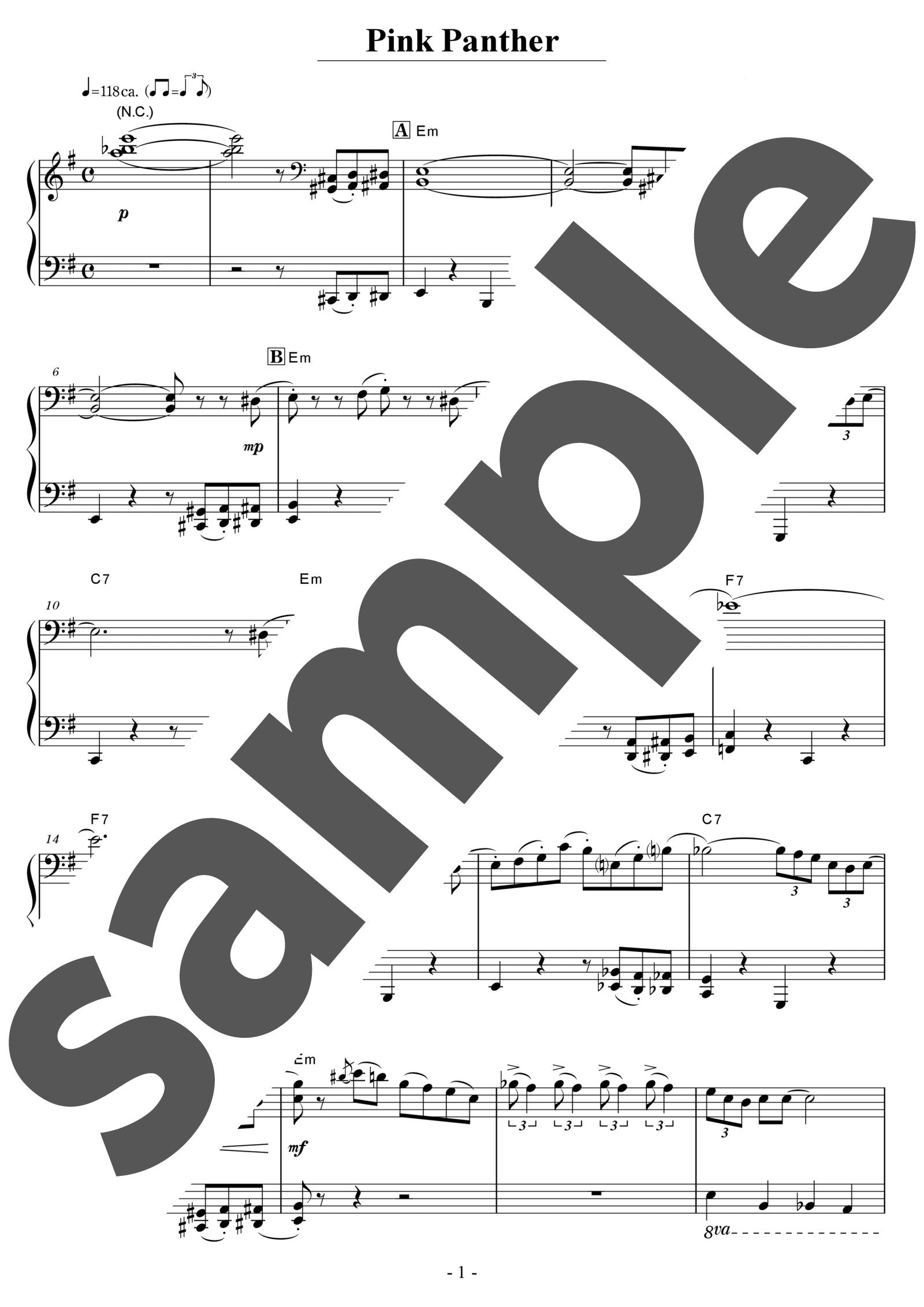 「ピンクパンサーのテーマ」のサンプル楽譜