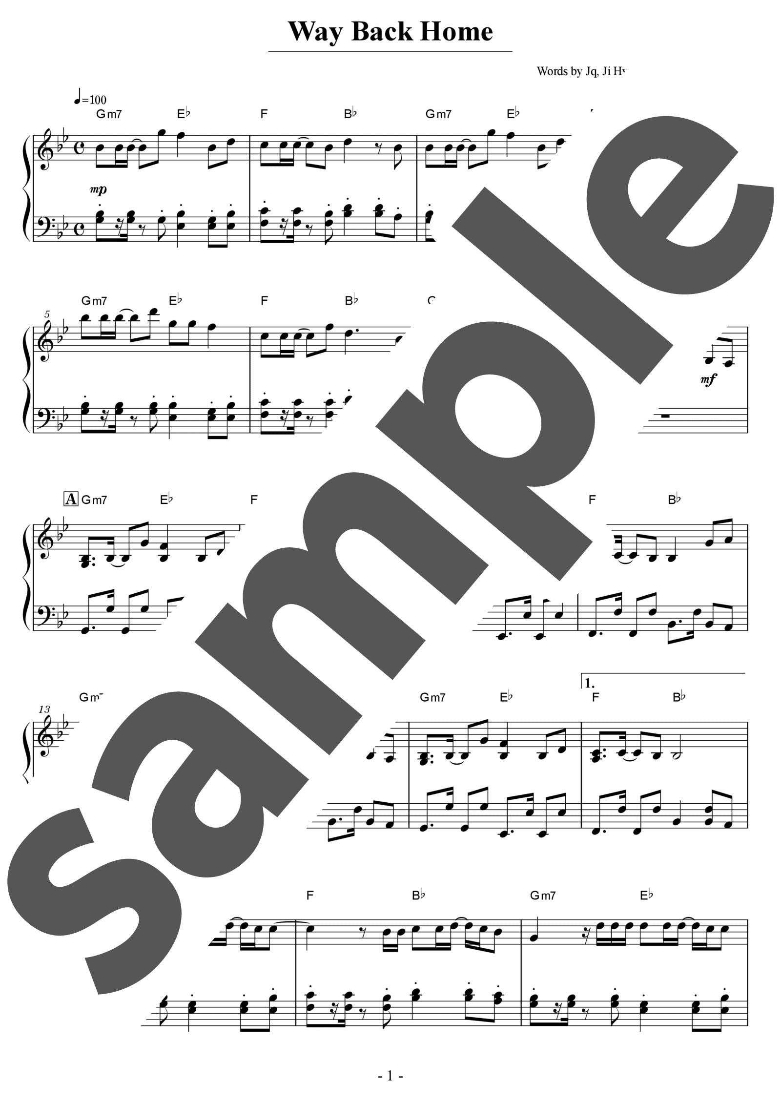 「Way Back Home」のサンプル楽譜