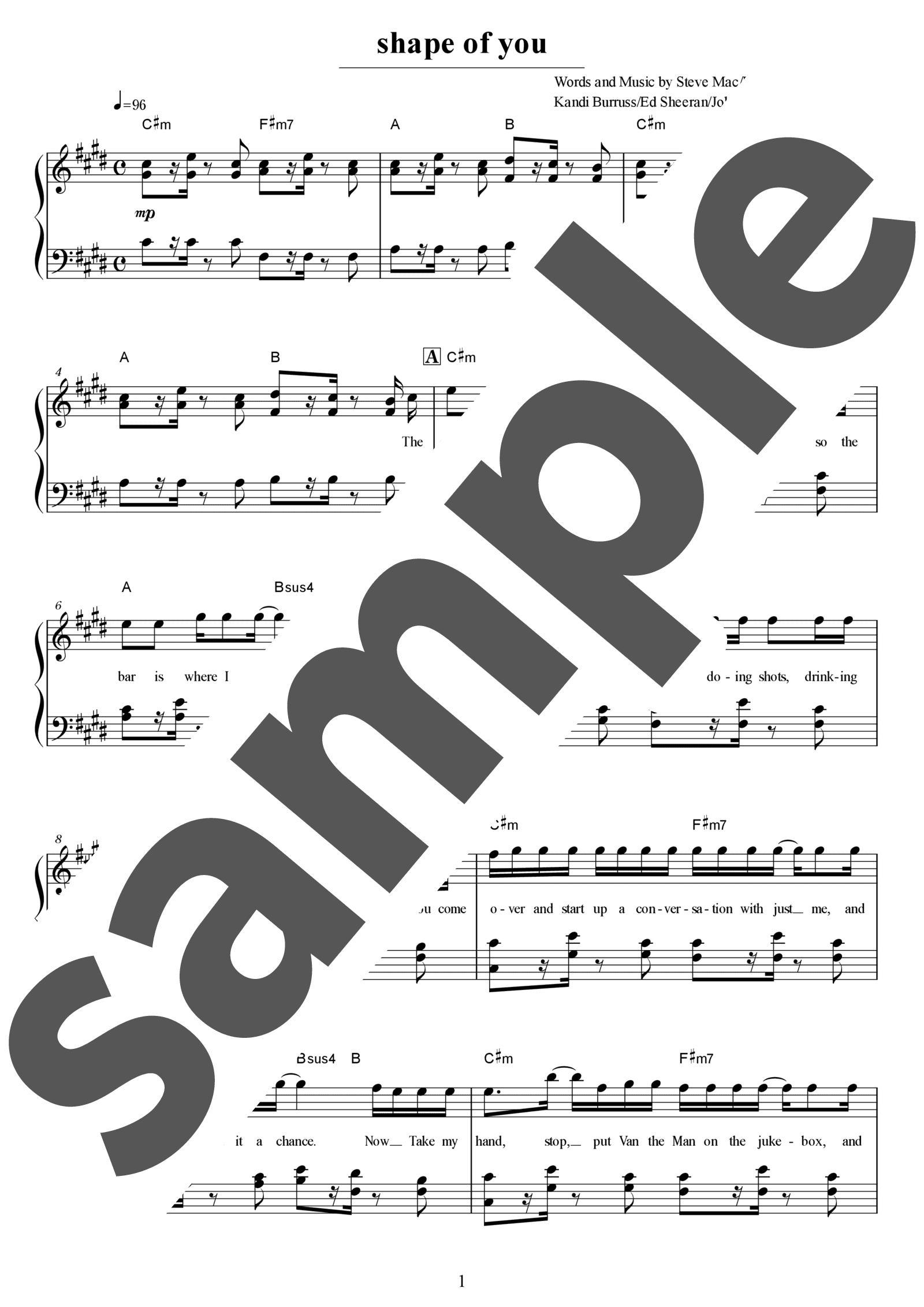 「Shape of You」のサンプル楽譜