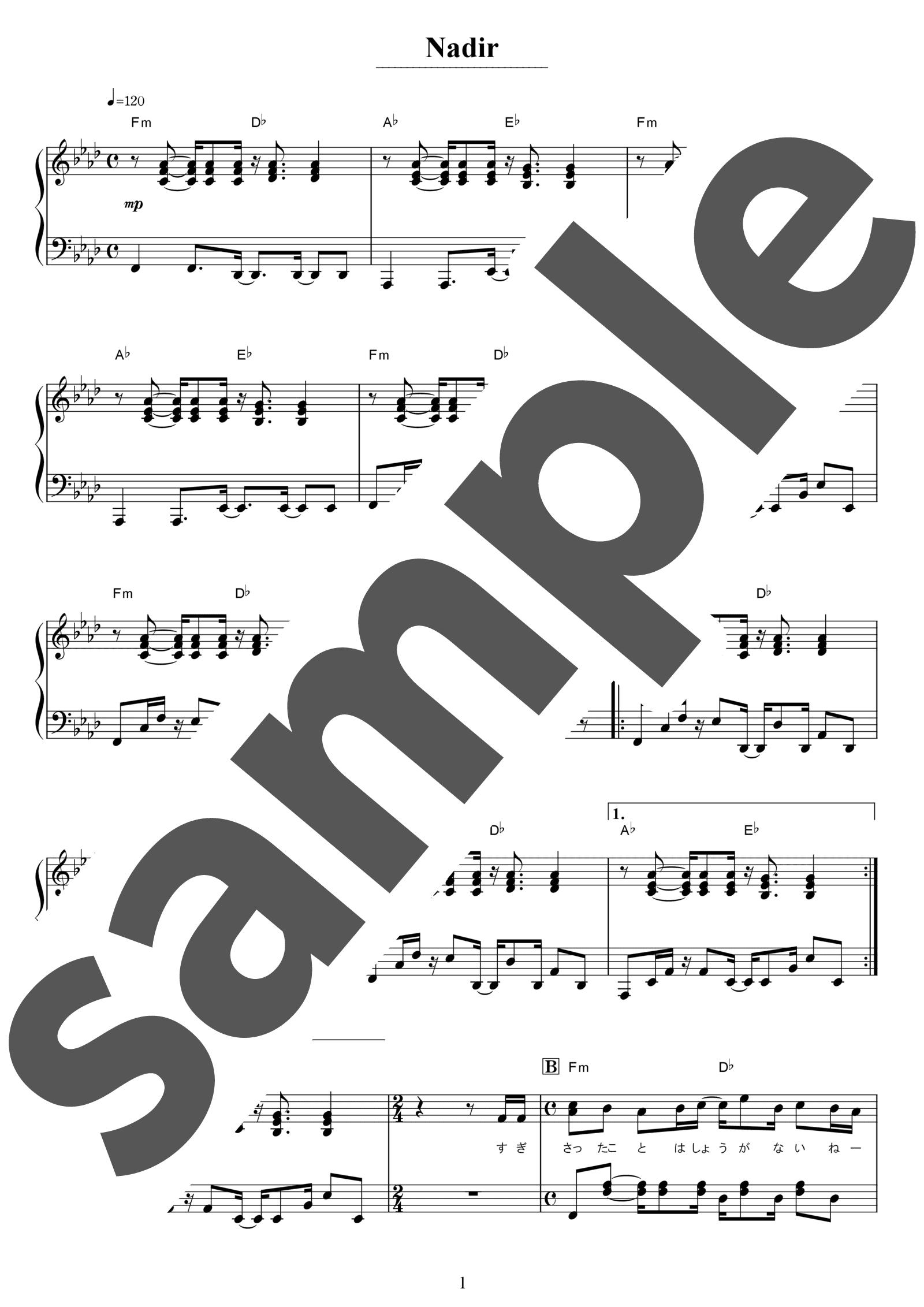「Nadir」のサンプル楽譜