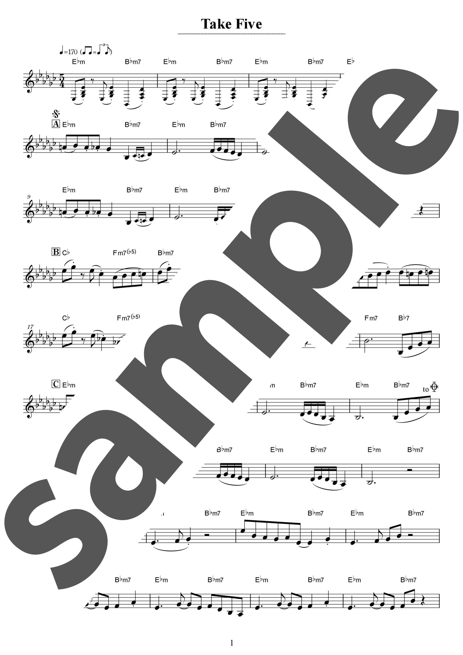 「Take Five」のサンプル楽譜