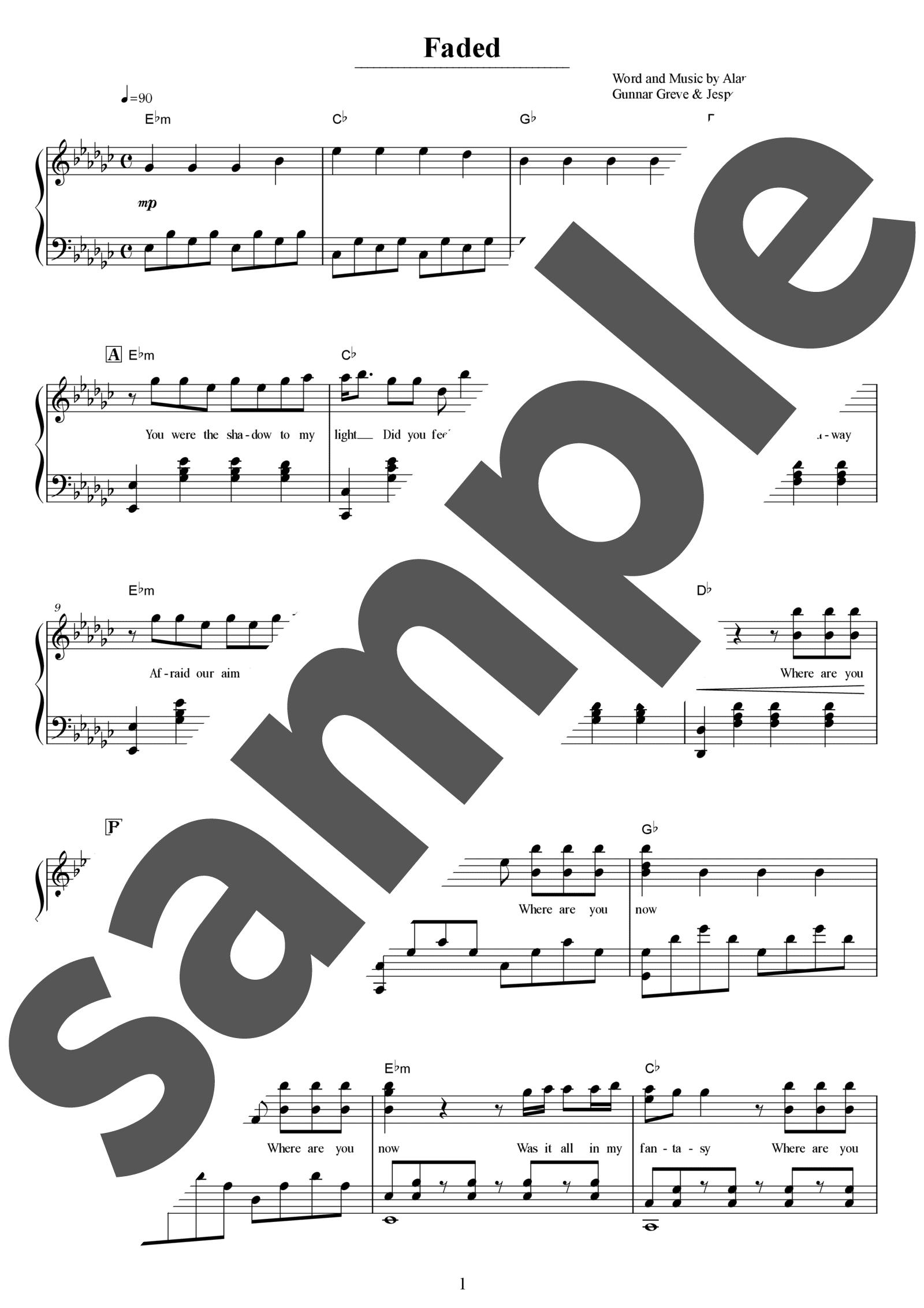 「Faded」のサンプル楽譜