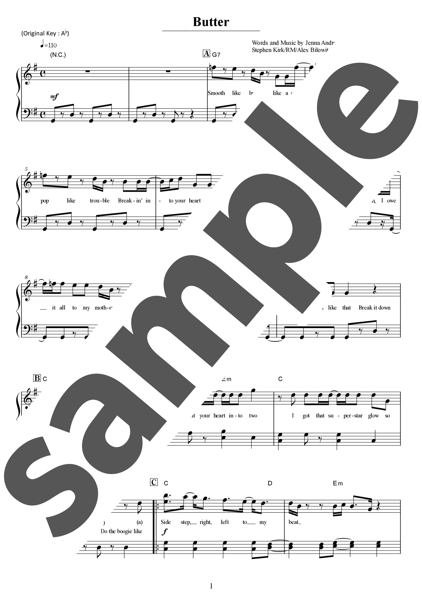 「Butter」のサンプル楽譜