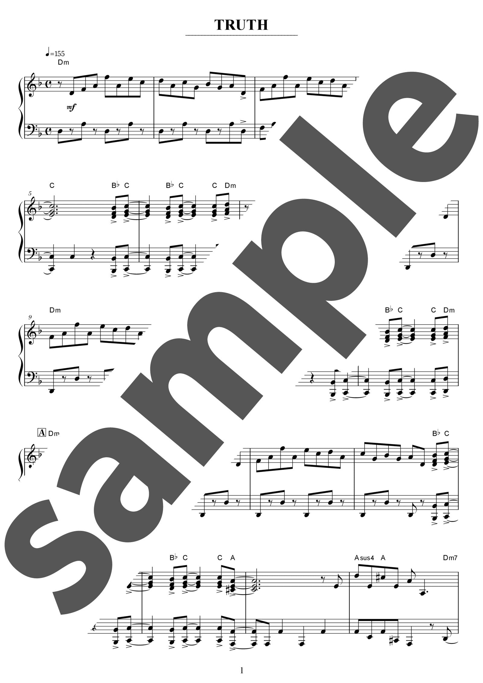 「TRUTH」のサンプル楽譜